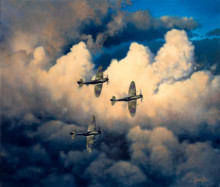 spitfires flying in an oil painted sky